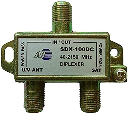 VHF Video Signal TV Antenna Coax Cable Combiner DC and IR Passing 1 GHz Bi-Directional UHF 2-Way Splitter 5-1000 MHz