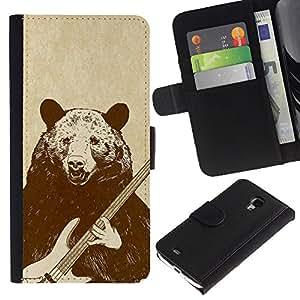NEECELL GIFT forCITY // Billetera de cuero Caso Cubierta de protección Carcasa / Leather Wallet Case for Samsung Galaxy S4 Mini i9190 // Roca del oso de la guitarra