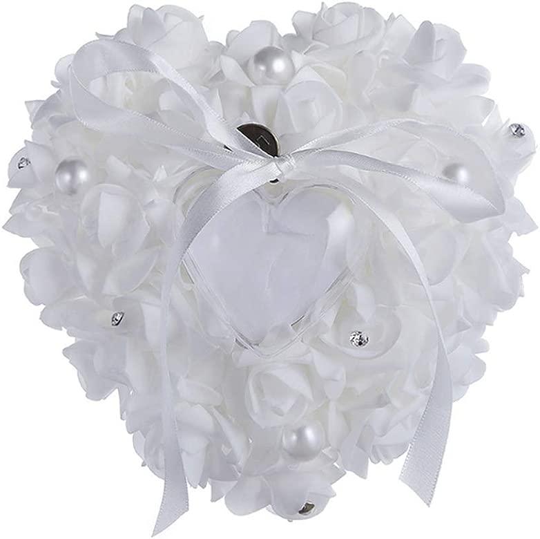 GZQ Caja de Anillo de Boda romántica Rosa Blanca Caja Portador de Anillo corazón Anillo Almohada cojín para Boda decoración Regalo de Compromiso: Amazon.es: Joyería