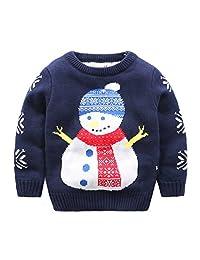 Baby Boys Girls Toddler Long Sleeve Christmas Snowman Pullover Sweater Sweatshirt