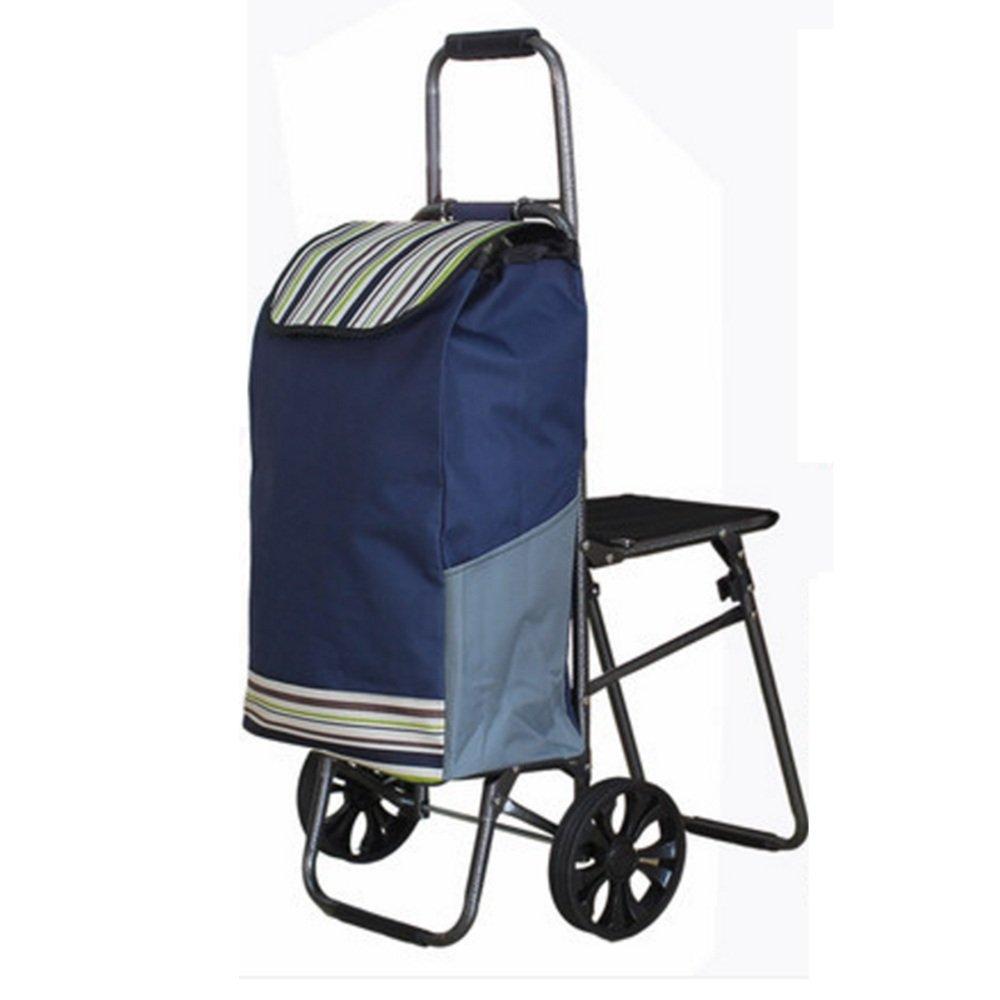 NAN 折り畳み食料雑貨の買い物カートトロリーの階段折りたたみカート トレーラー (色 : 青) B07DZC4YWN 青 青