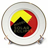3dRose Alexis Design - Art - Modernist Solar Eclipse Art - 8 inch Porcelain Plate (cp_271749_1)