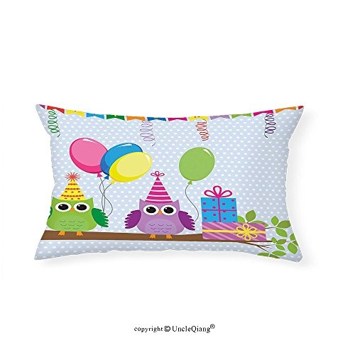VROSELV Custom pillowcasesBirthday Decorations for Kids Cartoon Owls at a Party with Flags Boxes Polka Dot Backdrop for Bedroom Living Room Dorm Baby Blue(12''x24'') by VROSELV