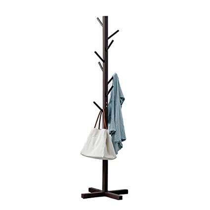 ZHEN GUO Wooden Coat Stand 8 Hooks Hat and Coat Rack Free Standing Tree Clothes Rail