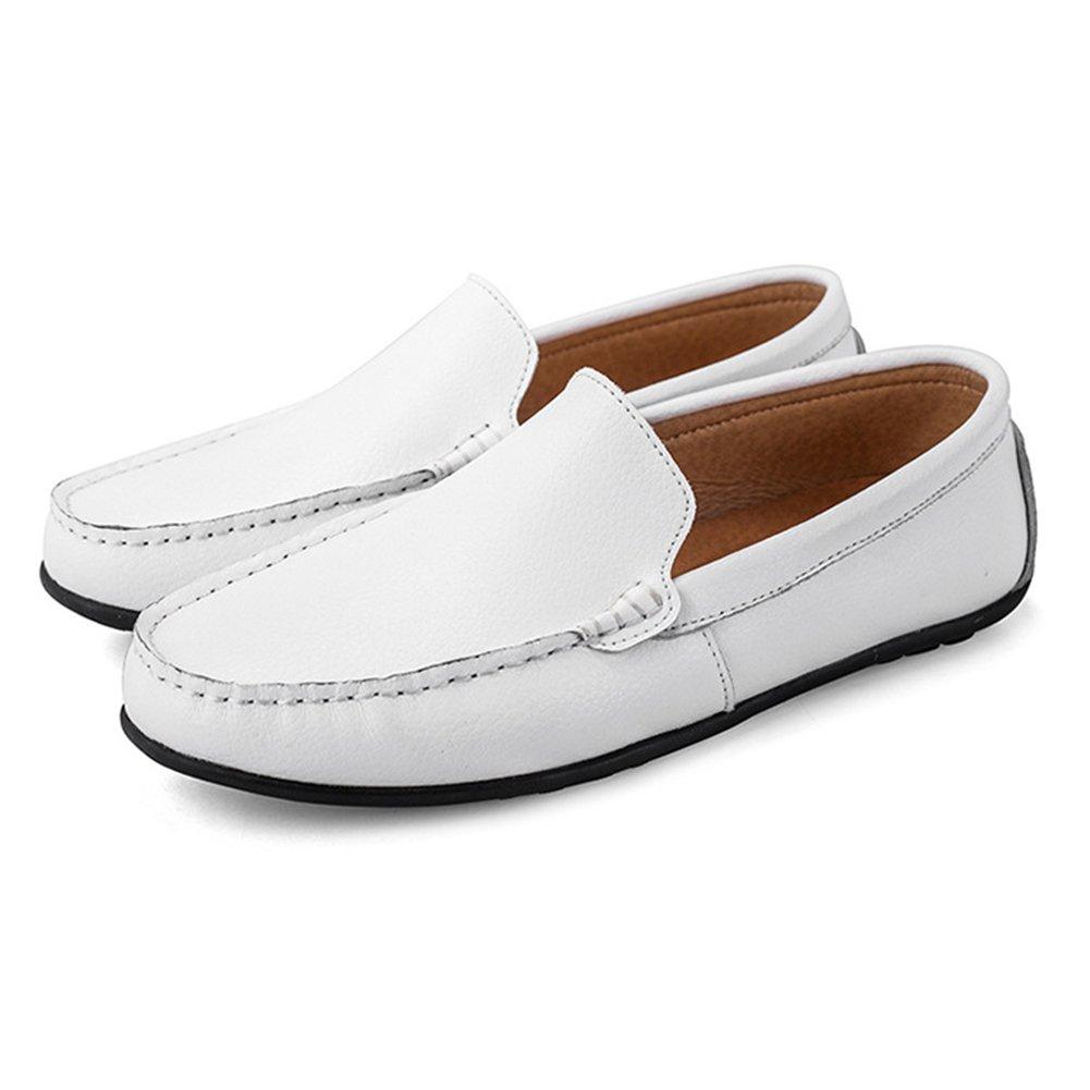 CAI Herren Schuhe Leder Flach Loafers Sommer/Herbst Herren Loafers & Slip-Ons Schwarz/Weiß / Blau/Leder Schuhe/Comfort Loafers (Farbe : Weiß, Größe : 44)