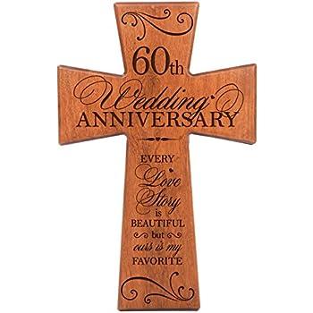 Amazon 60th Wedding Anniversary Cherry Wood Wall Cross Gift For