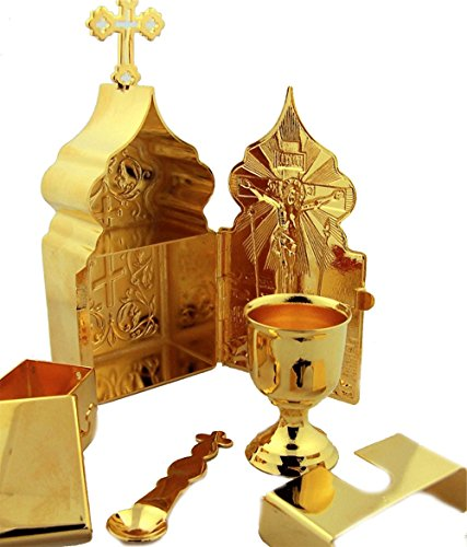 Gold Tone Travel Tabernacle Chalice Travel Mass Kit 5 1/2 Inch by Religious Gifts