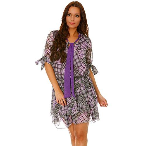 Miss Wear Line - Robe tunique imprimé à carreaux ouvertures sur les bras