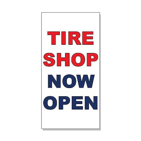 Amazon Com Tire Shop Now Open Red Blue Auto Car Repair Shop Decal
