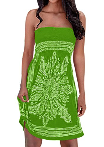 Zyyfly Women Off Shoulder Strapless Dress Bohemian Floral Print Cover-up Tube Dress Green ()
