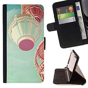 Momo Phone Case / Flip Funda de Cuero Case Cover - Air Balloon Flying trullo Romántica - LG Nexus 5 D820 D821
