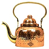 IndianArtVilla Hammered Designer Copper Tea Kettle Pot Inside Tin Lining, Serving Tea Coffee, Tableware, Brown
