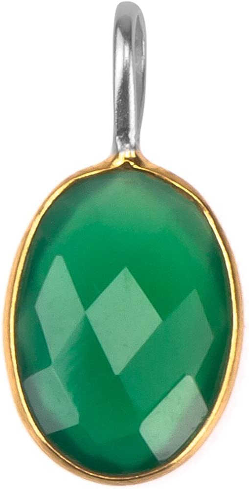 Plateado colgante de Chic-Net ovalada de plata ónix verde facetado plata esterlina 925