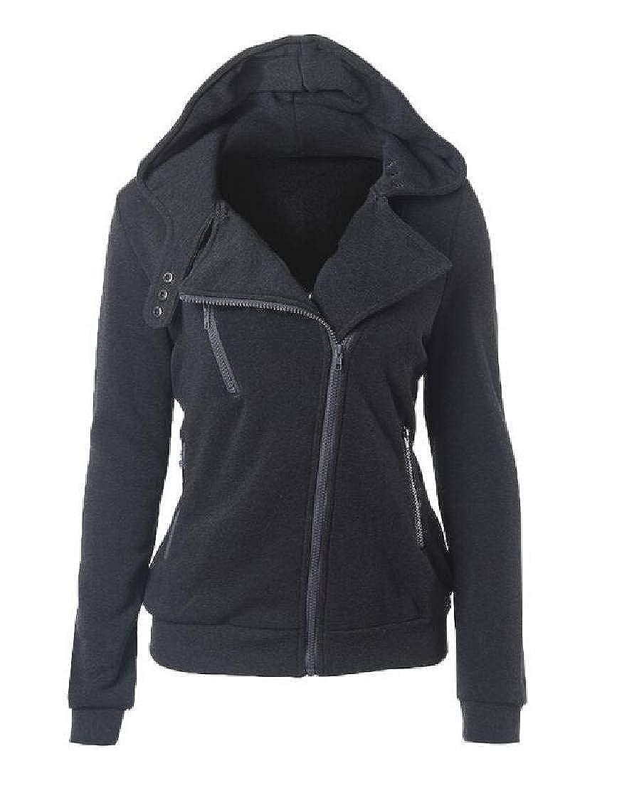 Frieed Women Fleece Slim Winter Oblique Zipper Sweatshirts Hoodies Tops