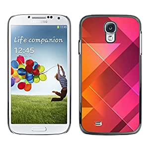 Qstar Arte & diseño plástico duro Fundas Cover Cubre Hard Case Cover para SAMSUNG Galaxy S4 IV / i9500 / i9515 / i9505G / SGH-i337 ( Polygon Pattern Purple Orange Clean)