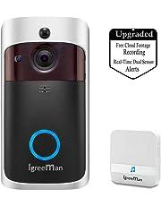 Igreeman Video Doorbell WiFi IP Security Camera, Wireless Powered 720P Realtime Smart Watchdog Surveillance System w/Night Vision, Free Cloud Service and Heat-Base PIR Motion Detection Push Alarm