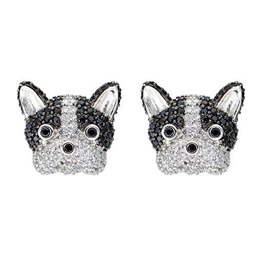Kesaplan S925 Sterling Silver French Bulldog Stud Earrings Cubic Zirconia Earrings (Silver Bulldog Sterling Ring)