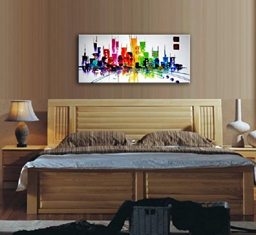 Santin Art Colorful City Modern Abstract Oil Painting Wall Art Decorations On Canvas Home Decor