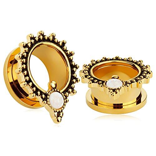 KUBOOZ(1 Pair) Golden-plated Opal-Dot Ear Plugs Tunnels Gauges Stretcher (Golden Plated Plug)