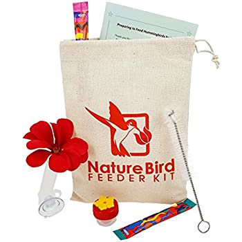 Hand Held Hummingbird Feeder Kit by Nature Bird - Complete Basic Kit; essential items for beginner to expert including hummingbird nectar mix, mini window feeder, handheld feeder, simple instructions