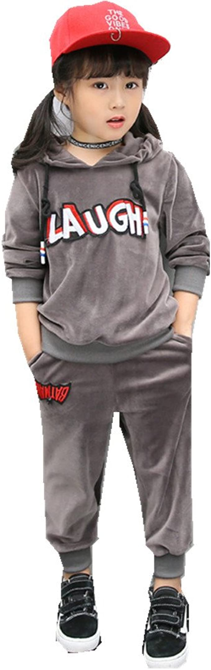 Pants FTSUCQ Kids Fleeced Pullover Sports Tracksuits Outerwear Coat