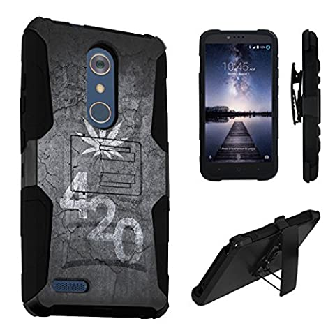 ZTE ZMax Pro Case / ZTE Carry Case, DuroCase Dual Layer Combat Armor Style Kickstand Case w/ Holster for ZTE ZMax Pro Z981 / ZTE Carry (Released in 2016) - (Leaves 420 (Weed Zte Phone Cases)