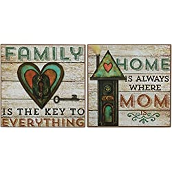 Set Of 2 Box Signs Home Again Mom Quote Wood Country Themed Home Décor Wall Art