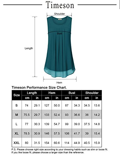 Timeson Sleeveless Blouses for Women,Chiffon Tank Top for Women, Womens Round Neck Tank Tops Sleeveless Loose Fit Summer Tunic Top for Leggings Black Large by Timeson (Image #4)