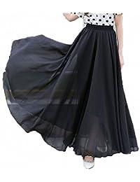 Womens Chiffon Retro Long Maxi Skirt Vintage Dress