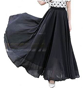 Afibi Womens Chiffon Retro Long Maxi Skirt Vintage Dress (Small, Black)