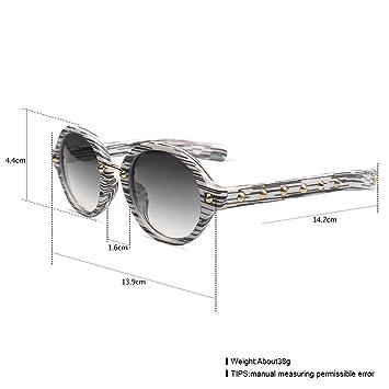 Runde Nieten Sonnenbrille Damenmode Große Box Sonnenbrille Outdoor Trend Brille , grau-weiß