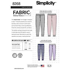 Simplicity Sewing Pattern D0583 / 8268 - Child's, Teen's and Adult's Slim Fit Knit Jogger, A (XS - L / XS - XL)