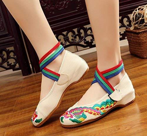 Fuxitoggo Bestickte Schuhe Sehnensohle Ethno-Stil weibliche Stoffschuhe Mode bequem lässig innerhalb der Erhöhung beige 41 (Farbe   - Größe   -)