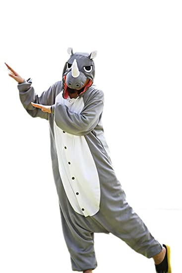 WOTOGOLD Animal Cosplay Costume Gray Rhinoceros Unisex Adult Pajamas (M)