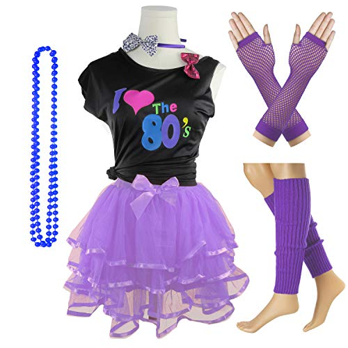 I Love The 80's T-Shirt 1980s Girl Costume Outfit Accessories (Purple, 10-12 -