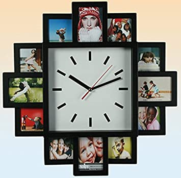 Wall Clock with 12 Picture Frames Photo Frame Clock Amazonco
