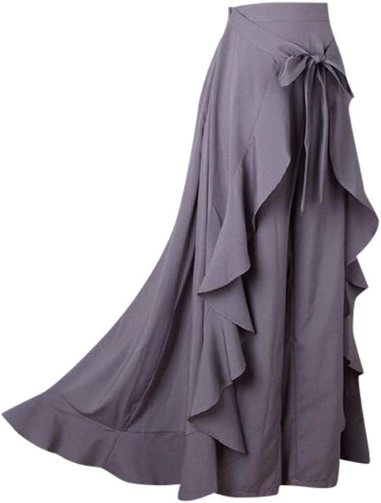 F/_topbu Womens Casual Ruffle Pants Plain Split Tie-Waist Maxi Long Palazzo Overlay Pant Skirts