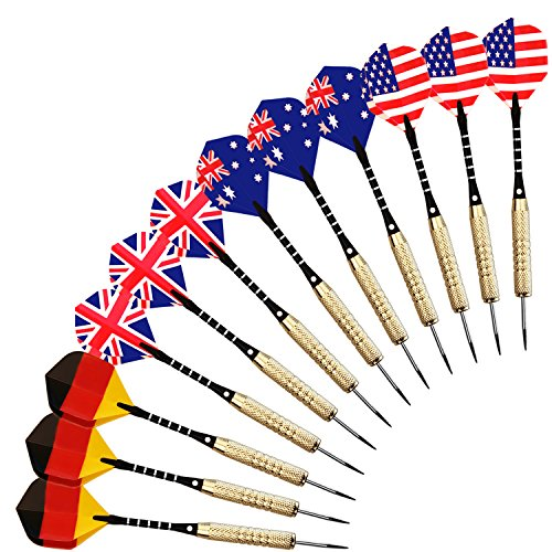 Reehut (12 Pcs) 18 Grams Steel Tip Darts with National Flag Flights (4 Styles) - Stainless Steel Needle, Aluminum Shafts and Brass Barrels