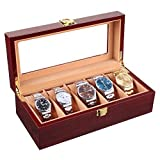 MVPower Wooden Watch Box 5 Slots Watch Display Storage Organizer Case Glass Top with Metal Lock, Cherry