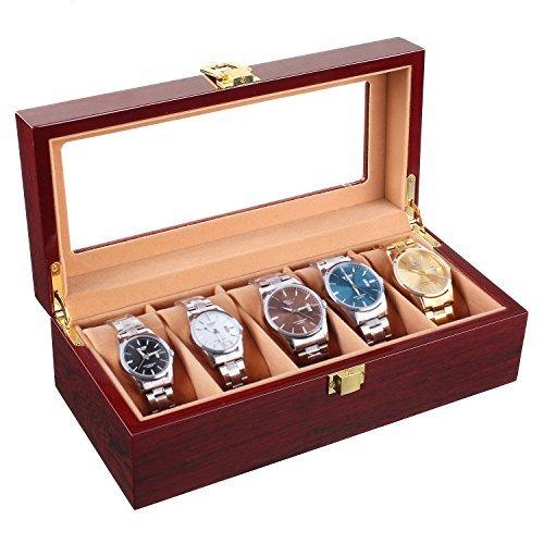 MVPower Wooden Watch Box 5 Slots Watch Display Storage Organizer Case Glass Top with Metal Lock, Cherry