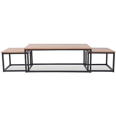 Vislone Mesa de Cafe Salon con 1 Mesa de Centro Grande y 2 Mesas de Centro Más Pequeñas 120 x 60 x 45 cm Marrón y Negro