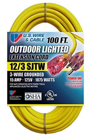 Sjtw Wire (US Wire 12/3 SJTW 100-Foot Outdoor Lighted Extension Cord (Yellow, 2-Pack))