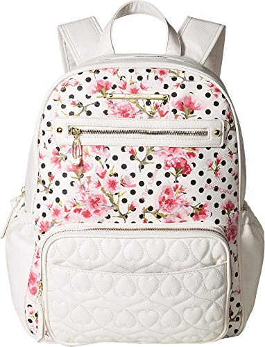 - Betsey Johnson Women's Convertible Backpack Diaper Bag Cream Multi One Size