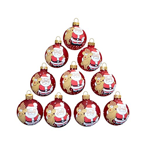 Set of 10 pcs Christmas balls 2,3'' Vintage Ornaments for Decoration Xmas Tree, Holiday Party, with hooks, Glass, Hand Blowed and Painted