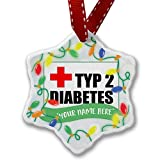 Personalized Name Christmas Ornament, Medical Alert, type 2 diabetes NEONBLOND