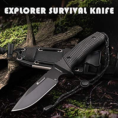 HX Outdoors 10In Exploer Survival Knife Dagger Fixed Blade Knives with Sheath & Flint Perfert Tactical Knife for Outdoor Hunting Survival Knives for Men