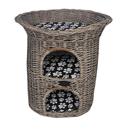 3 Tier Woven Pet Bed Basket, Cat Bed Condo Cat House Pet Home Rattan Furniture Kennel Perfect Kitten Gift, Pet Sleeping House