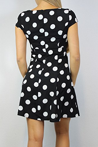 GLAMOROUS Damen Kleid Gr 36 Schwarz Weiß Polka Dot Ladies Dress gepunktet#O108