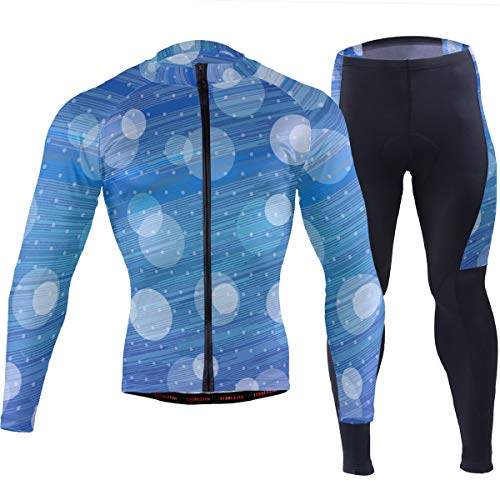 Reynoldss Caraaed Blue Shooting Stars and Bubbles Men's Cycling Jersey Short Sleeve Full Zip Bike Clothing Set Long Sleeve Mountain Bike Road Bicycle Shirt