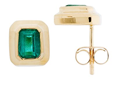 310ea7ccf Image Unavailable. Image not available for. Color: Amoro 18kt Yellow Gold  Colombian Emerald Earrings